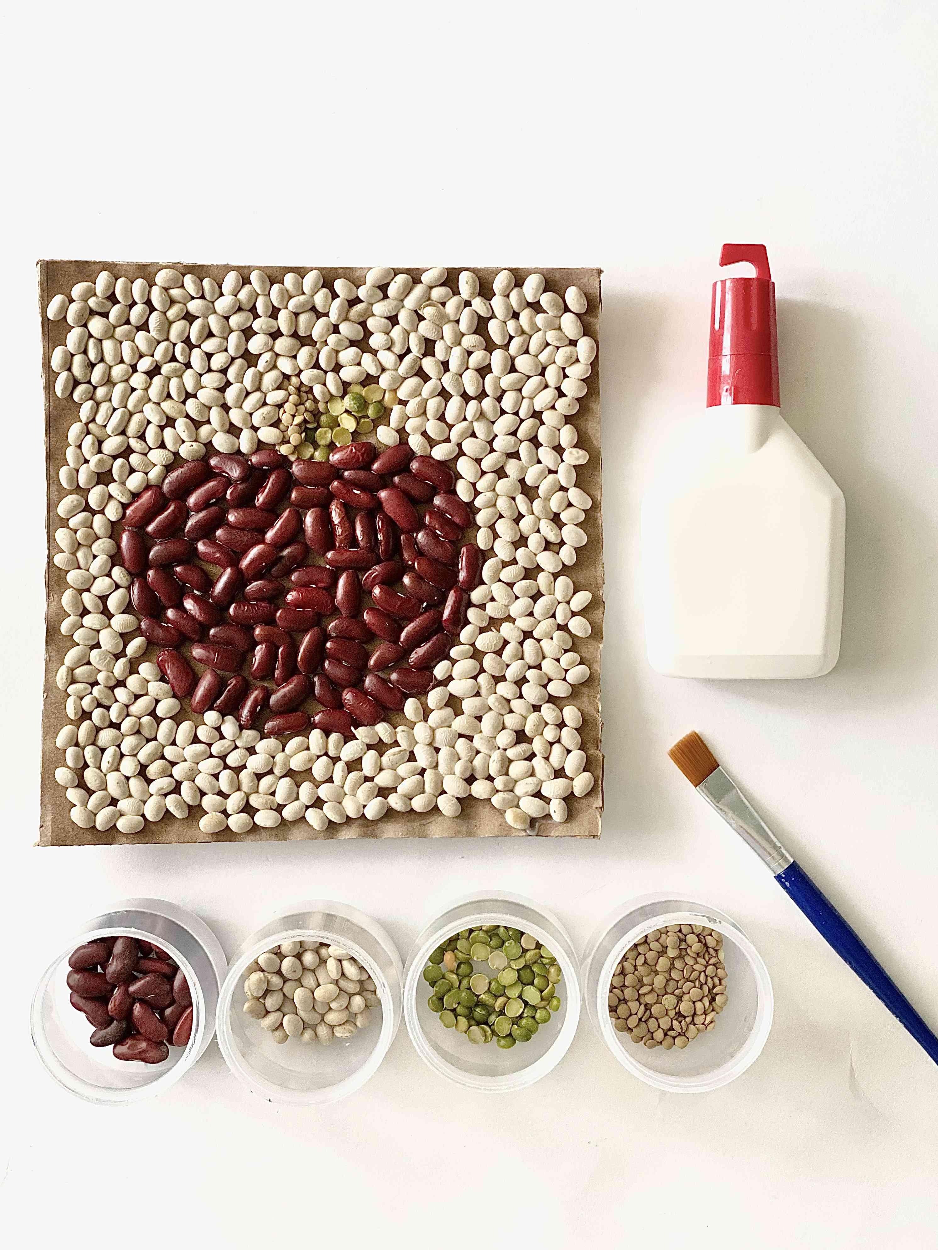 Fall bean mosaic craft with supplies