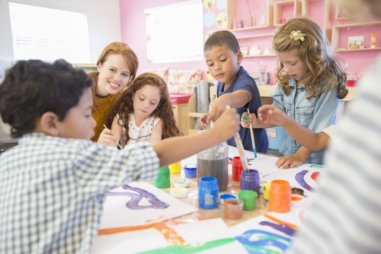 preschoolers painting
