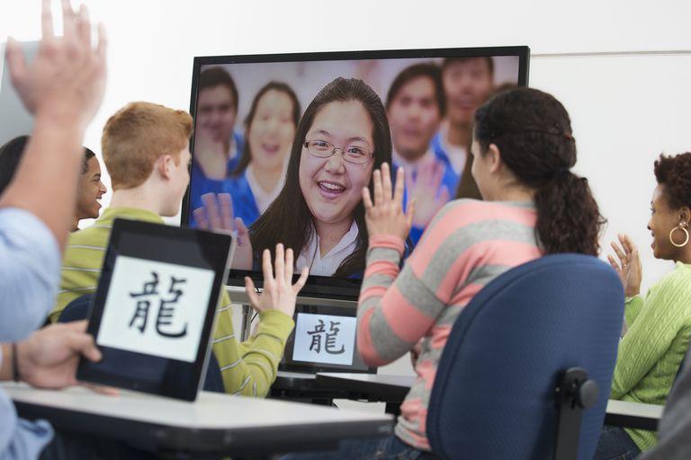 Classroom of students skypes across the globe.