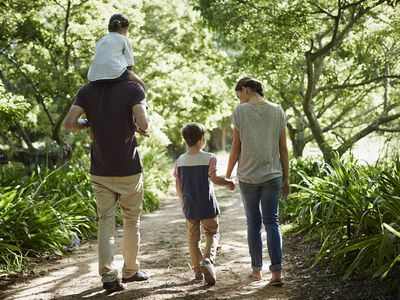 Rear view of family walking in park