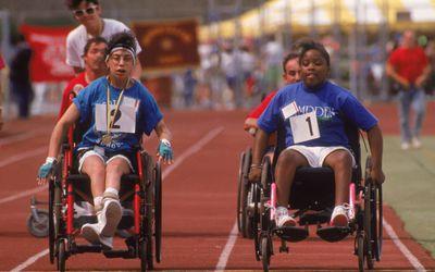 Special Olympics wheelchair race