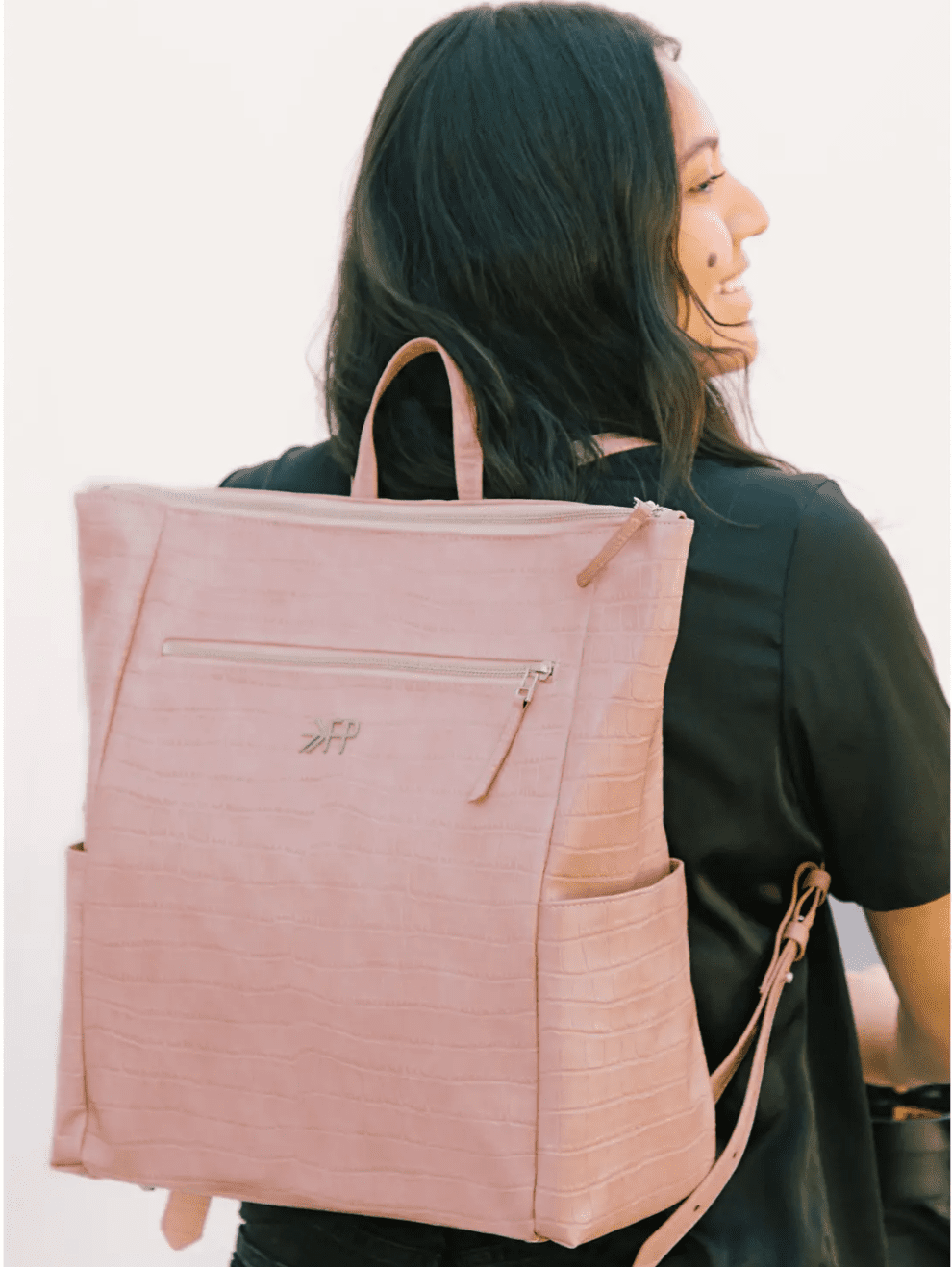 Freshly Picked Minimal Water Resistant Faux Leather Diaper Backpack
