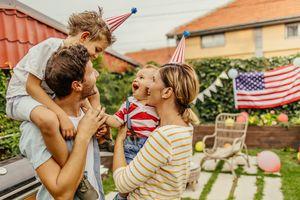 Family celebrating Fourth of July