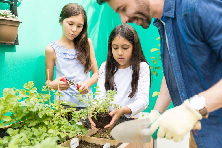young girls gardening