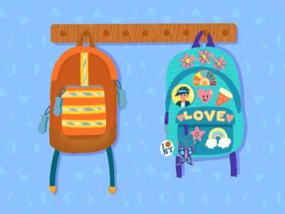 Illustration of two backpacks hanging