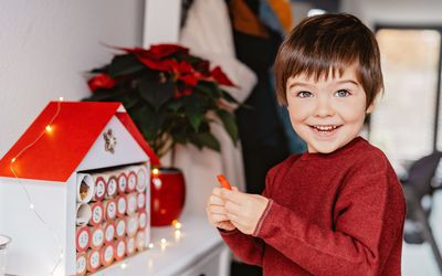 little boy with advent calendar