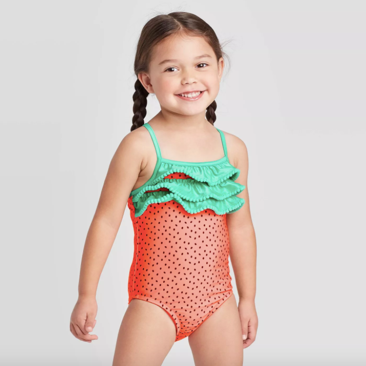 Girls Kids Swimsuit Swimwear 2-6Y Bikini One-Shoulder Sunsuit Rash Guard UPF50+