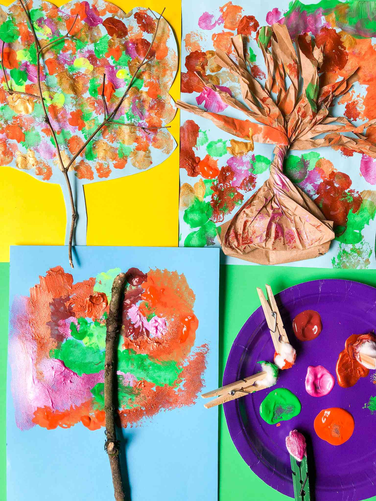 Colorful fall tree collage paintings