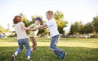 young boys playing outside