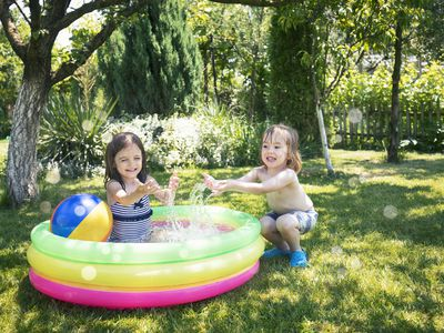 kids in inflatable pool