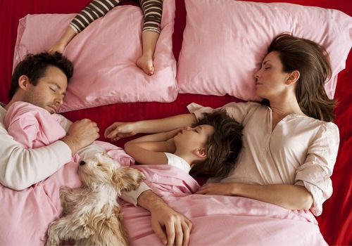 Parents sleeping in bed with two kids and a dog