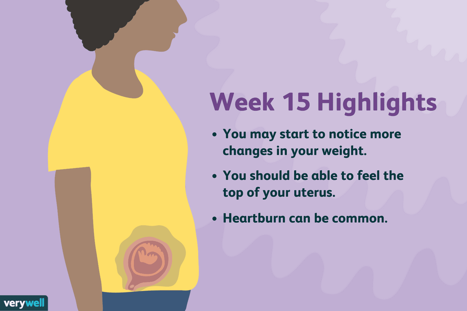 15 Weeks Pregnant: Symptoms, Baby Development, and More