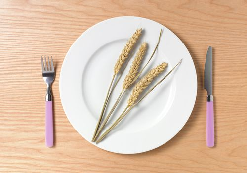 wheat stalks on a plate