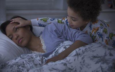 son who can't sleep waking up sleeping mom