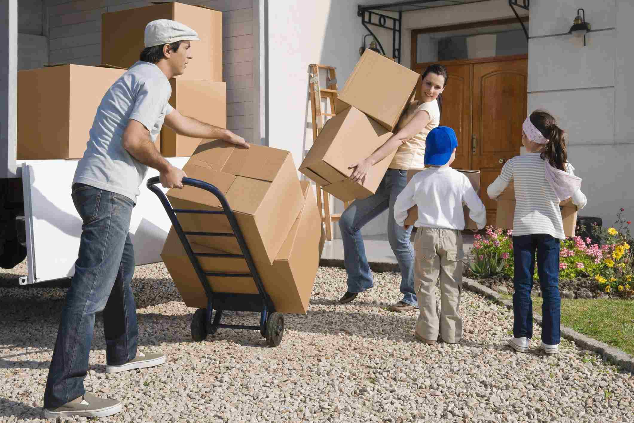 People unloading moving truck