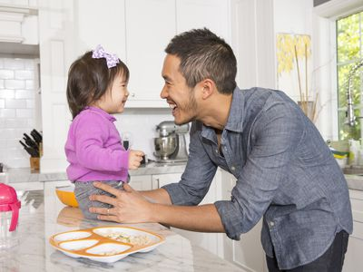 Father with toddler in the kitchen
