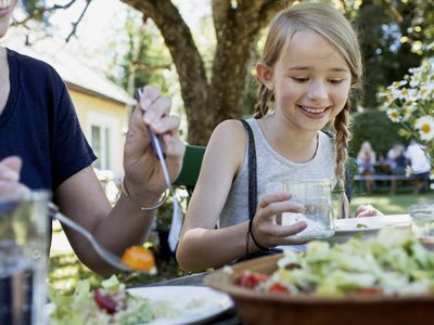 Child eating a salad