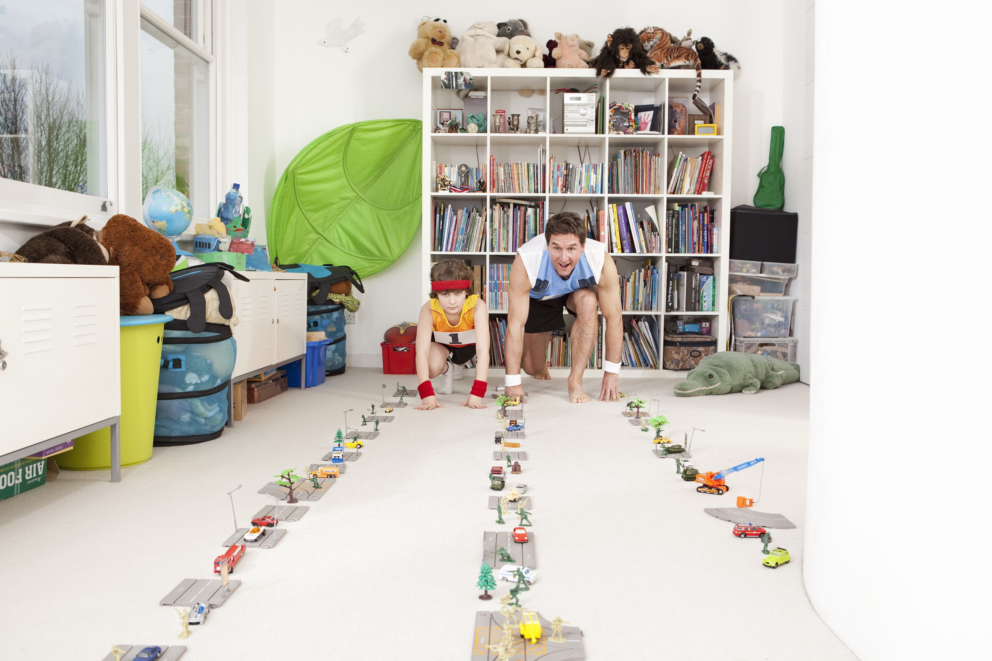 pretend play - father and son indoor Olympics with toy cars