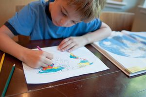 Boy coloring a map.
