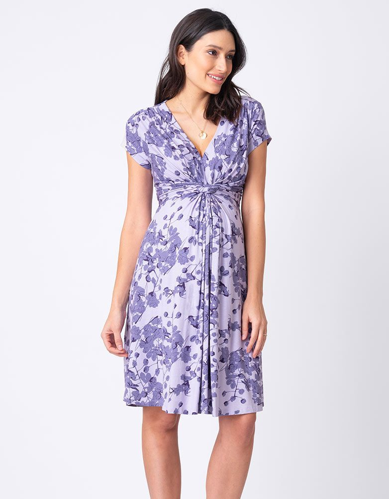 Seraphine Lavender Blossom Knot Front Maternity Dress