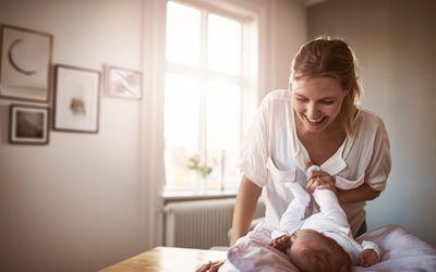 New mom bonding with her baby girl
