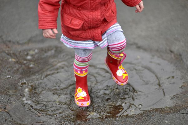 Girl stomping in puddle