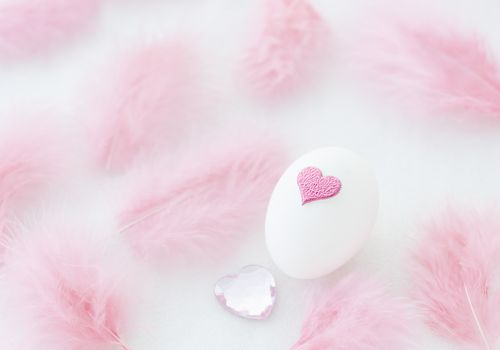 photo of an egg with a pink heart, a pink gem stone nearby, and pink feathers, symbol of the love and gift in egg donation