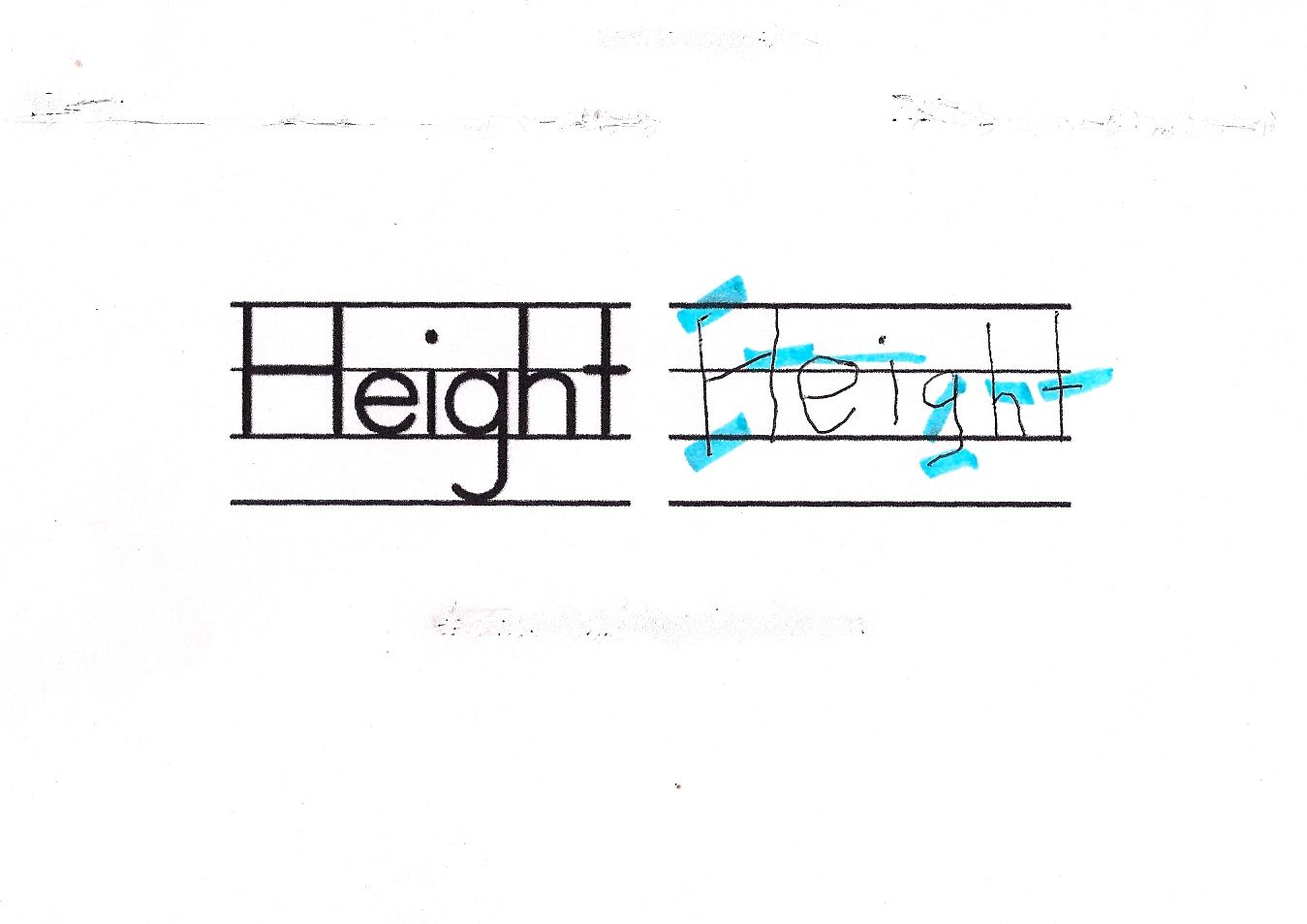 An example of poor handwriting with letter height problems.