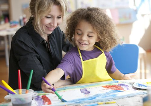 woman and young girl painting in classroom