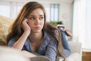 Sad tween girl