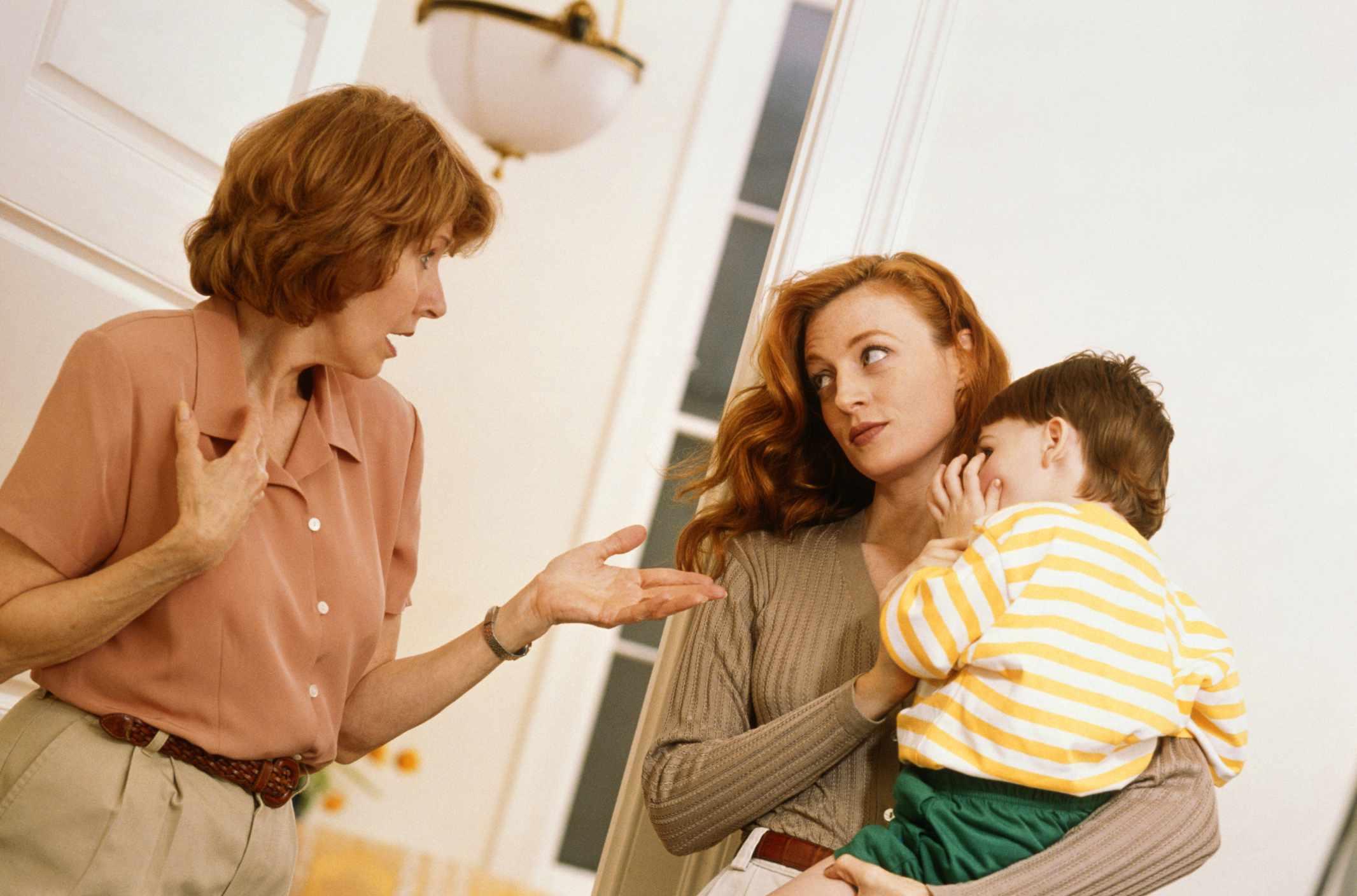 Grandmother judging daughter's parenting