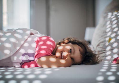 baby girl waking up