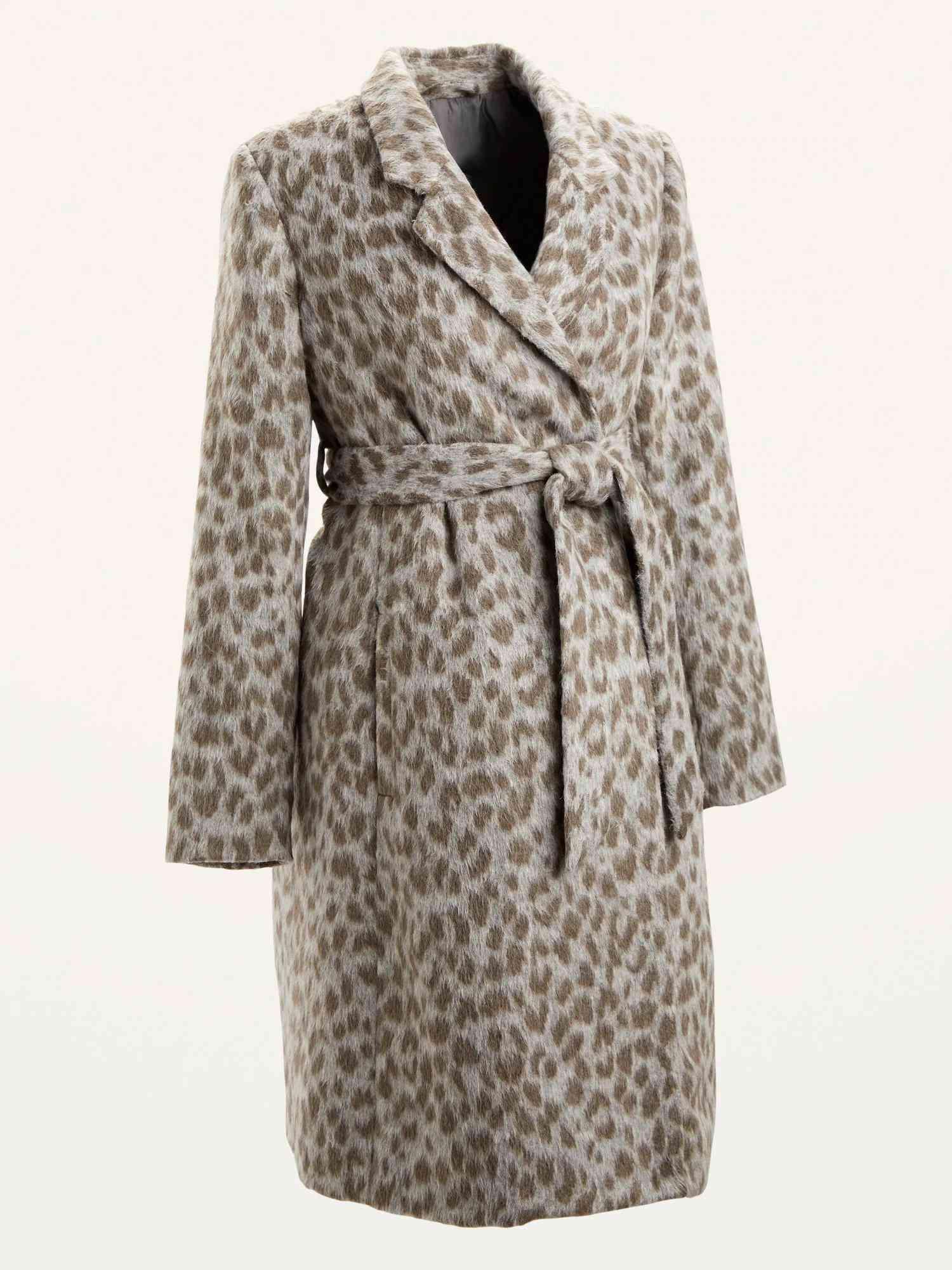 Maternity Oversized Soft-Brushed Leopard-Print Tie-Belt Coat