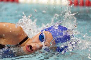 Freestyle event at swimming competition for kids