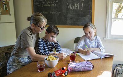 mother kids school work