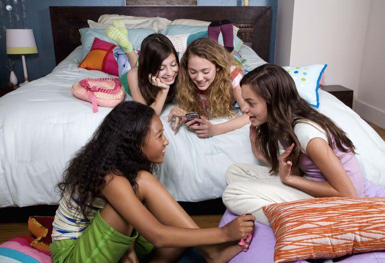 Teenage girls at slumber party