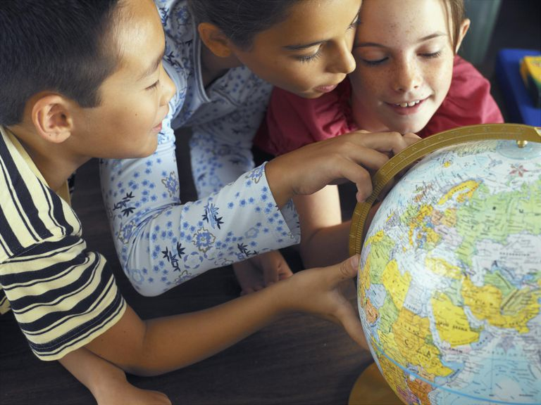 Children Looking at Globe