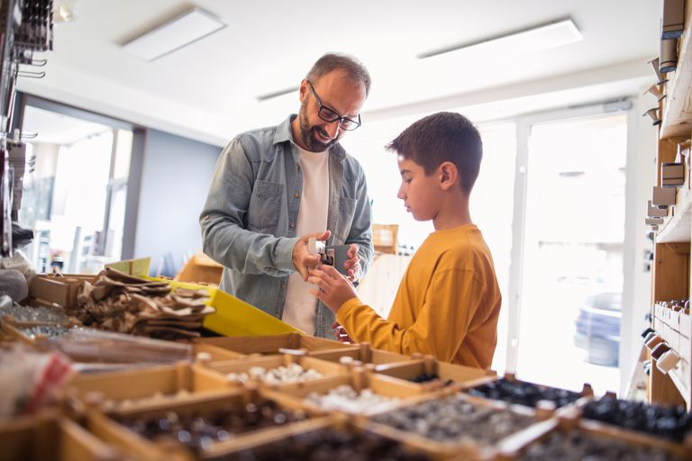 Father and son at hardware store
